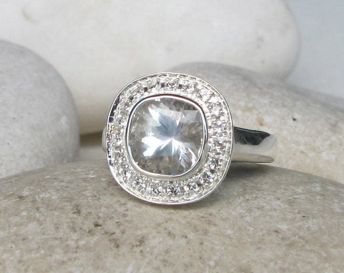 Genuine Cushion White Topaz Engagement Ring- Halo Colorless Clear Solitaire Ring- Square Silver Ring- Alternative Diamond Anniversary Ring