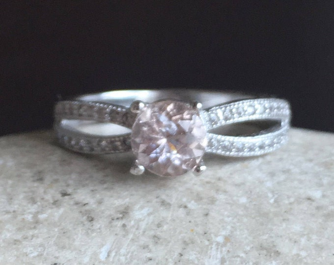 Rose Gold Morganite Ring- Prong Morganite Promise Ring- Pink Gemstone Engagement Ring-Round Morganite Double Ring-Solitaire Anniversary Ring