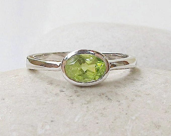 Small Peridot Ring Oval Simple Minimal Dainty Simple Stack