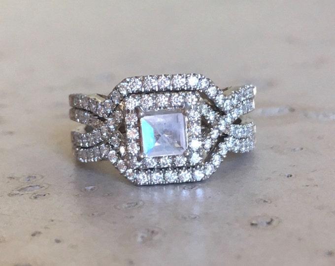 Moonstone Diamond Princess Engagement Ring Set- Square Rainbow Moonstone Bridal Ring Set- Edwardian 3 Piece Ring Set- Rose Yellow White Gold