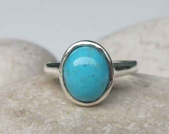 Bohemian Turquoise Simple Ring- Blue Solitaire Boho Ring- Oval Smooth Gemstone Ring- Everyday Silver Stone Ring- Something Blue Ring