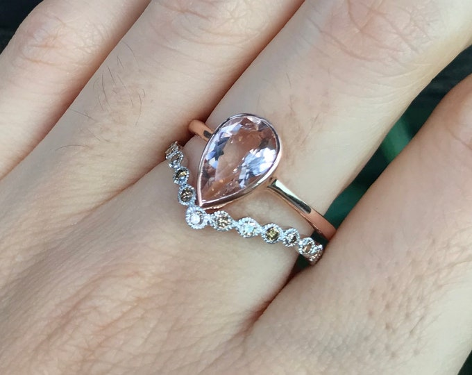 Morganite Teardrop Rose Gold Engagement Ring-Morganite Promise Ring for Her- Minimalist Pear Shape Solitaire Morganite Ring-Anniversary Ring