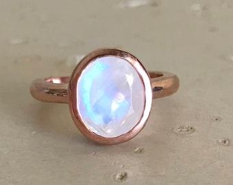 Rose Gold Moonstone Ring- Oval Boho Moonstone Ring- Stackable Moonstone Ring- June Birthstone Ring- Sterling Silver Moonstone Ring