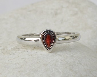 Tear Drop Garnet Ring- Tiny Red Stackable Ring- Sterling Silver Small Ring- Bohemian Gemstone Ring- January Birthstone Ring