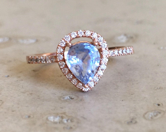 Genuine Blue Sapphire 1ct Engagement Ring- Halo Rose Gold Light Natural Blue Sapphire Promise Ring Tear Drop Diamond Solitaire Sapphire Ring