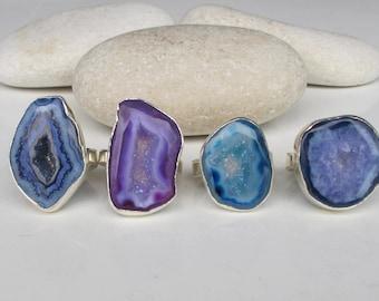 Geode Raw Ring- Raw Crystal Slice Ring- Rough Purple Druzy Amethyst Ring- Blue Druzy Ring- February Birthstone Ring- Boho Statement Ring