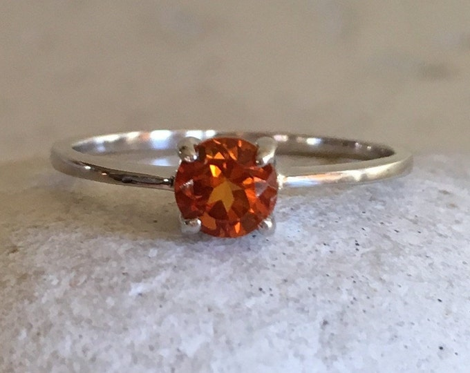 Citrine Dainty Prong Ring- Silver Citrine Stackable Ring- Round Dark Orange Genuine Citrine Ring- November Birthstone Ring-Ring for Teen Kid
