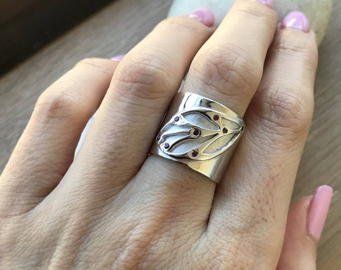 Leaf Wide Silver Statement Band- Nature Inspired Leaves Band- Genuine Ruby Leaf Band Ring- Unique Jewelry Gifts for Her