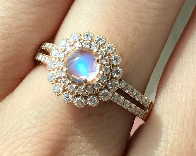 Moonstone Halo Engagement Ring- Round Moonstone Diamond Floral Promise Ring- Split Shank Moonstone Anniversary Ring- Rose Yellow White Gold
