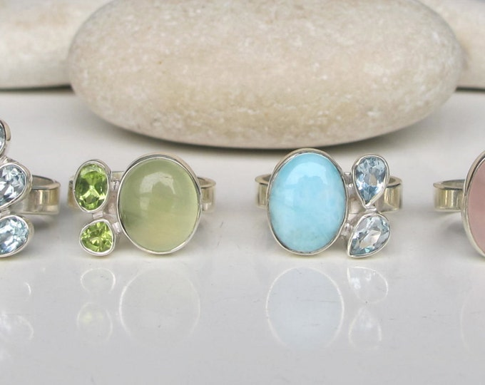 Peridot Ring- Rutile Quartz Ring- Peridot Ring- Topaz Ring- Moonstone Ring- Gemstone Ring- Birthstone Ring- Blue Topaz Ring- Birthstone Ring