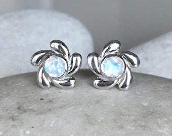 Bohemian Flower Moonstone Earring- Boho Floral Moonstone Earring- Round Moonstone Stud Earring- June Birthstone Stud-Unique Everyday Earring