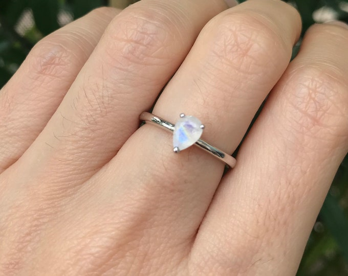 Moonstone Ring Silver Sterling Pear Simple Dainty Moonstone Boho