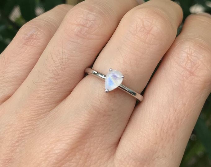 Moonstone Ring Silver Sterling Pear Simple Dainty Moonstone Boho
