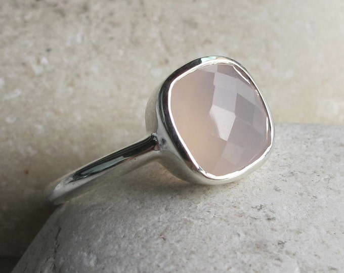 Rose Quartz Stack Square Silver Ring- Pink Chalcedony Simple Ring- Pink Onyx Gemstone Ring- Milky Pastel Pink Ring- October Birthstone Ring-