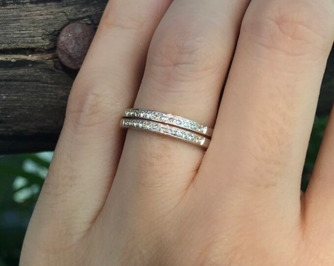 White Topaz Womens Wedding Band- Two Tier Silver Band- Half Eternity Band- Colorless Double Band Ring- April Birthstone Band- Wide Band Ring