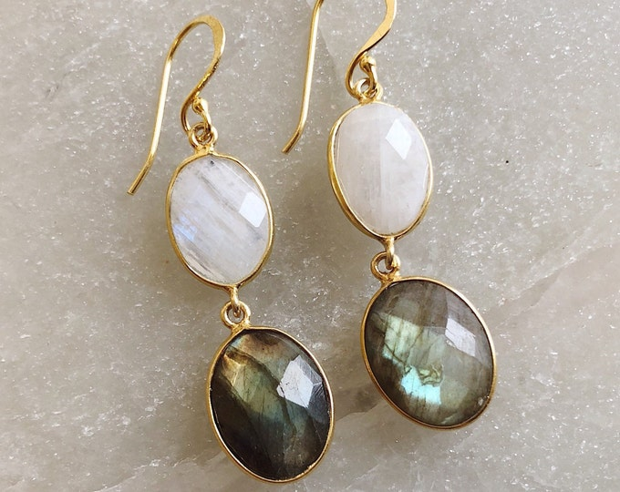 Iridescent Moonstone Labradorite Dangle Earring- Long Boho Two Stone Drop Earring- Handmade Genuine Gemstone Double Drop Oval Earring