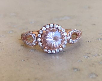 Round Halo Morganite Engagement Ring- Art Deco Promise Ring for Her- Pink Gemstone Anniversary Ring-Rose Gold Sterling Silver Morganite Ring