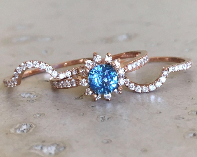 Natural Blue Sapphire Engagement Ring Set- Genuine Sapphire Rose Gold Ring- Halo Floral Engagement Ring- 3 Piece Sapphire Bridal Ring Set