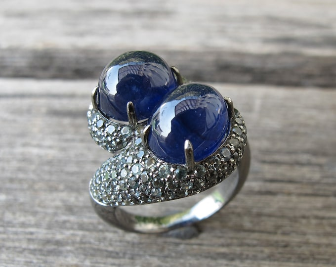 Blue Sapphire Oval Statement Bypass Ring- Avant Garde Cabochon Sapphire Genuine Soltiatire Ring- September Birthstone Ring- Two Stone Ring