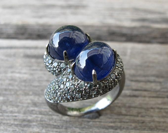 Dual Sapphire Statement Ring- Unique Designer Jewel Ring- Bypass Twist Raw Sapphire Ring- September Birthstone Ring- Artisan Gemstone Ring