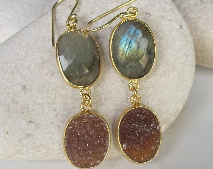 Bohemian Labradorite Druzy Earring Long Dangle Gold Earring Handmade 2 Stone Earring Double Drop Boho Real Gemstone Druzy Oval Earring