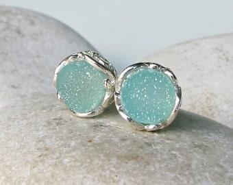 Classic Mint Druzy Earring- Silver Minimalist Green Earring- Round Seafoam Green Earring- Bridesmaid Stud Earring- Boho Raw Crystal Stud