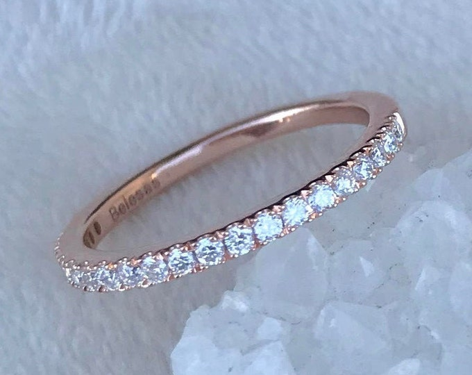 Rose Gold Diamond Band- Half Eternity Diamond Band- Pave Diamond Wedding Band- Thin Diamond Ring Stack- Womens Wedding Dainty Band