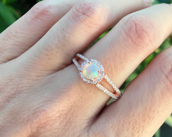 Opal Engagement Ring- Rose Gold Engagement Ring- Welo Opal Promise Ring- Double Band Ring- October Birthstone Ring- Womens Engagement Ring