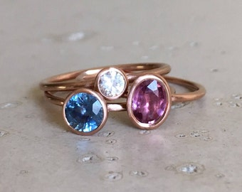 9k Rose Gold Sapphire Ring- Stackable Gemstone Gold Ring- White Blue Purple Pink Sapphire Ring- September Birthstone Ring- Three Ring Set