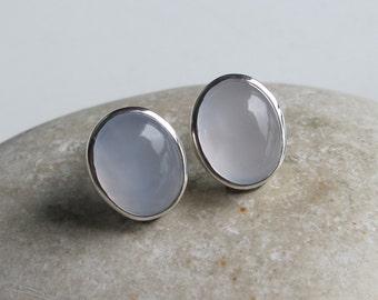 Soft Blue Stud Earring- Oval Blue Earring- Something Blue Earring- Simple Classic Earring- Smooth Chalcedony Earring- Jewelry Gifts for Her