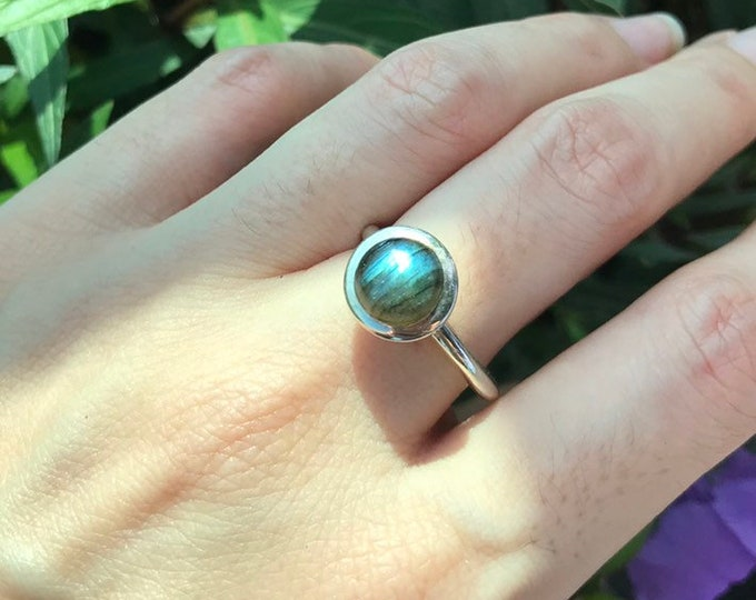 Blue Labradorite Cabochon Stackable Boho Ring- Blue Iridescent Gemstone Sterling Silver Ring- Bohemian Ring For Teen