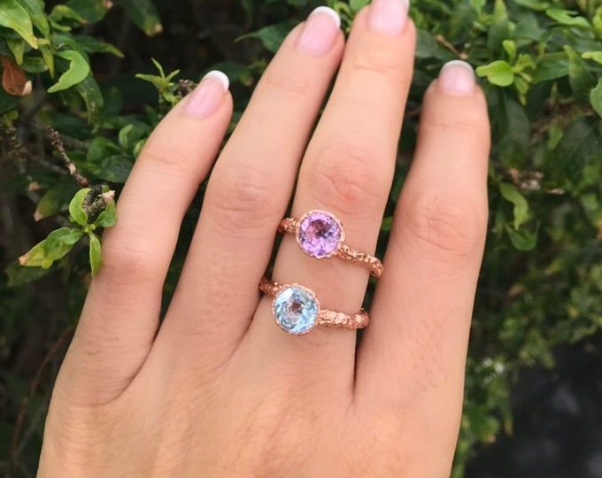 Rustic Birthstone Stackable Rose Gold Ring- Birthstone Rings For Mom- Custom Personalized Birthstone Ring- Birthstone Jewelry