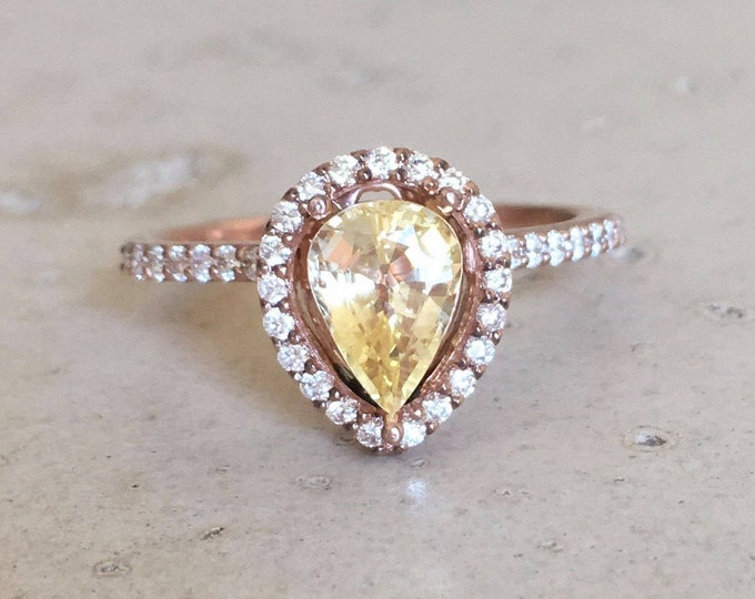 Yellow Sapphire Engagement Ring- Rose Gold Yellow Gemstone Ring- Genuine Sapphire Diamond Pear Ring- Solitaire Yellow Promise Ring