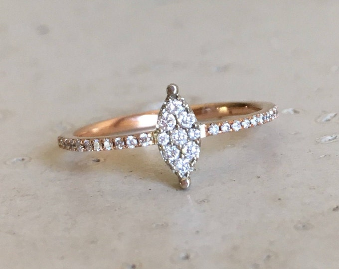 Micro Pave Thin Stack Diamond Ring- Rose Gold Cluster Diamond Ring- Diamond Two Tone Gold Ring- Trendy Dainty Diamond Ring- Jewelry Gifts