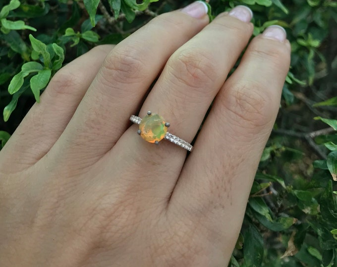 Round Opal Engagement Ring- Solitaire Opal Promise Ring- Genuine Welo Opal 4 Prong Ring- October Birthstone Ring- Ethiopian Opal Ring