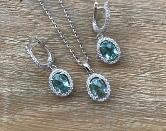 Aqua Green Bridal Jewelry Sets- Gemstone Matching Earring Necklace- Halo Oval Shape Jewelry Set- Blue Green Matching Earring Necklace