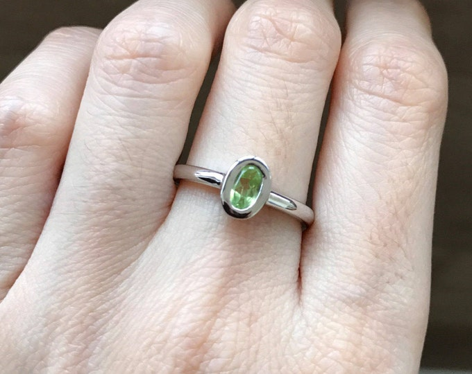 Genuine Peridot Ring Oval Small Dainty Minimal Simple Peridot