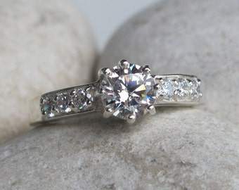 Cubic Zirconia Engagement Ring- Cololess Promise Ring- Round Solitaire Anniversary Ring- Alternative Diamond Prong Ring