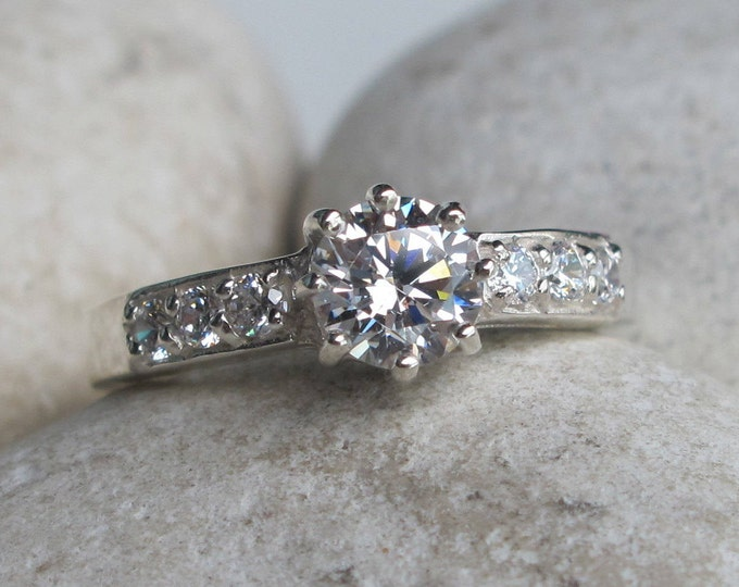 1 Carat Cubic Zirconia Engagement Ring- Cololess Promise Ring for Her- Round Solitaire Anniversary Ring- Alternative Diamond 8 Prong Ring