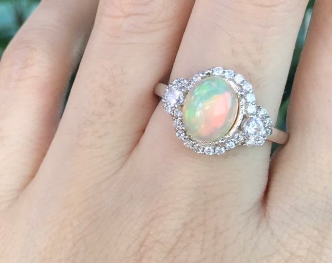 Art Deco Opal Oval Engagement Women Ring- Welo Opal Promise Halo Ring- Genuine Cabochon Fire Opal Anniversary Ring- October Birthstone Ring