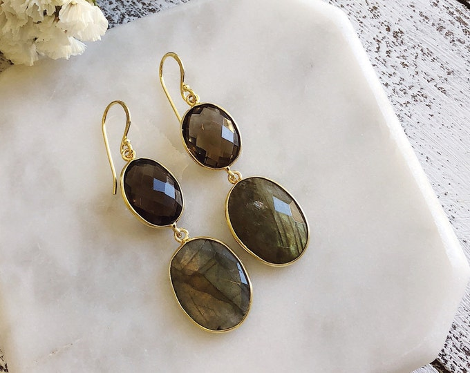 Smoky Quartz with Labradorite Earring- Gemstone Long Dangle Earring- Statement Drop Earring- Two Stone Double Drop Earring