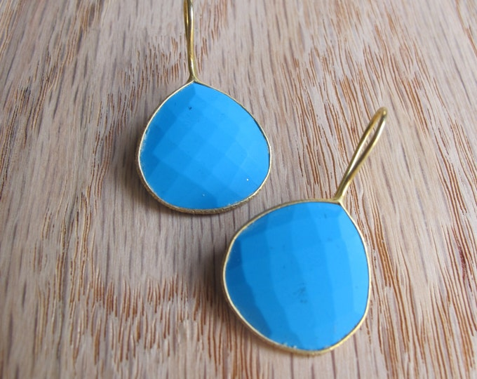 Blue Turquoise Teardrop Earring- Pear Turquoise Dangle Earring- Blue Gold Dangle Earring- Bohemian Statement Earring- December Earring