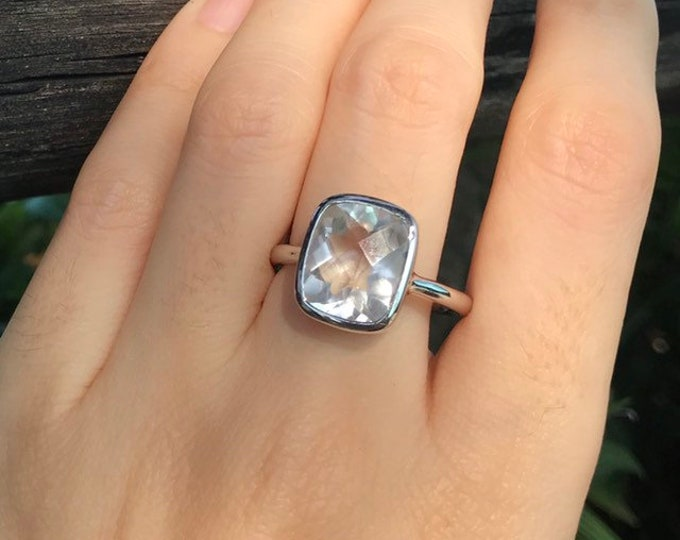 Rectangle Colorless Engagement Ring- White Quartz Promise Ring- Clear Emerald Cut Ring- Alternative Diamond Engagement Ring- Simple Ring
