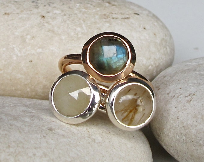 Unique Stackable Ring- Rose Gold Ring- Round Simple Ring Set-Labradorite Sapphire Quartz Ring-Statement Gemstone Ring- Jewelry Gifts for Her