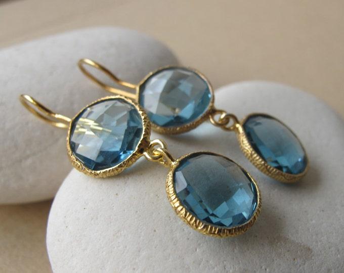 London Blue Topaz Long Dangle Earring- Blue Two Stone Drop Earrings- Dark Blue Quartz Earring- December Birthstone Statement Earring