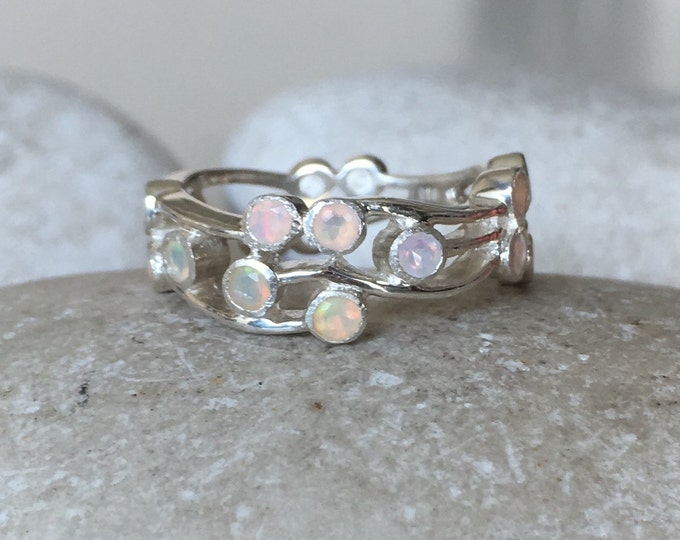 Womens Wedding Opal Band- Statement Opal Band- Bohemian Wide Band- Opal Branch Ring- October Birthstone Ring- Multistone Opal Ring