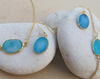 Real Druzy Set- Blue Druzy Jewelry Set- Oval Druzy Necklace Bracelet Earring- Raw Crystal Set -Classic Necklace Bracelet Earring Raw