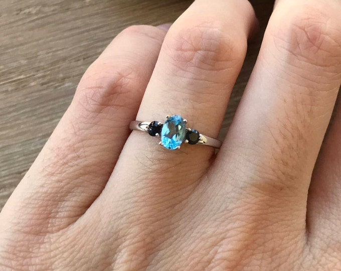 Blue Topaz Three Stone Engagement Ring- Dainty Blue Gemstone Promise Ring for Her-Blue Gemstone Engagement Ring-December Birthstone Ring