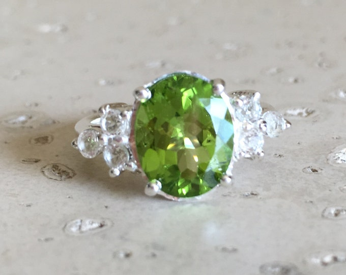 Peridot Engagement Ring- August Birthstone Ring- Unique Engagement Ring- Green Statement Ring- Nontraditional  Alternative Engagement Ring
