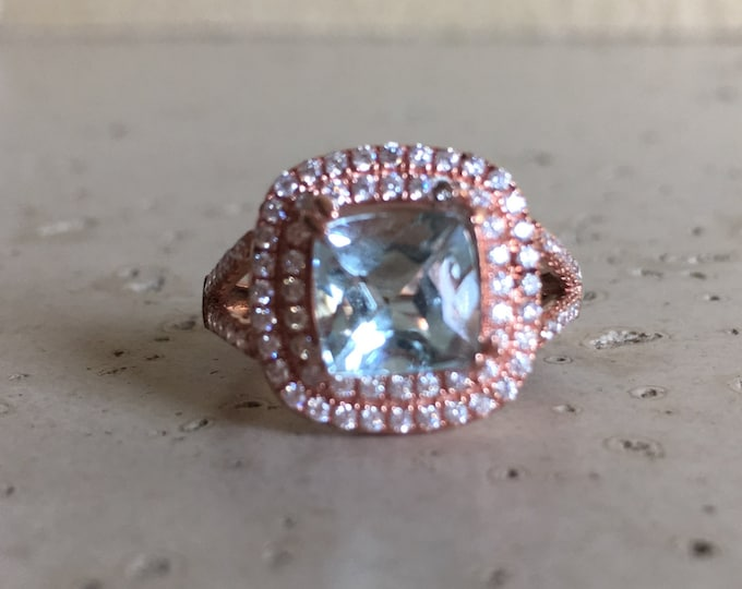 Rose Gold Engagement Ring- Aquamarine Promise Ring- Halo Cushion Aquamarine Ring- Blue Gemstone Statement Ring- March Birthstone Ring